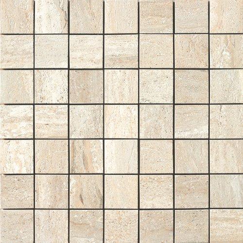 Samson 1037075 Travertini Matte 2X2 Mosaic Floor and Wall Tile, 17X17-Inch, Beige, 1-Piece