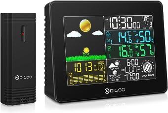 DIGOO DG-TH8868 Wetterstation Feuchtesensor Hygrometer Thermometer Wireless-Farbdisplay Digital USB Outdoor-Barometer Wetterstation Hygrometer Thermometer Vorhersage Sensor Uhr