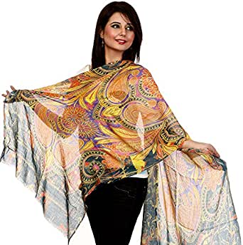 Exotic India Tri-Color Stole with Printed Paisleys and Flowers - Tri-Color