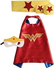 Fancydresswale Superhero Cape with Felt Mask, Belt and Wrist Band (Wonder Woman Red and Yellow)