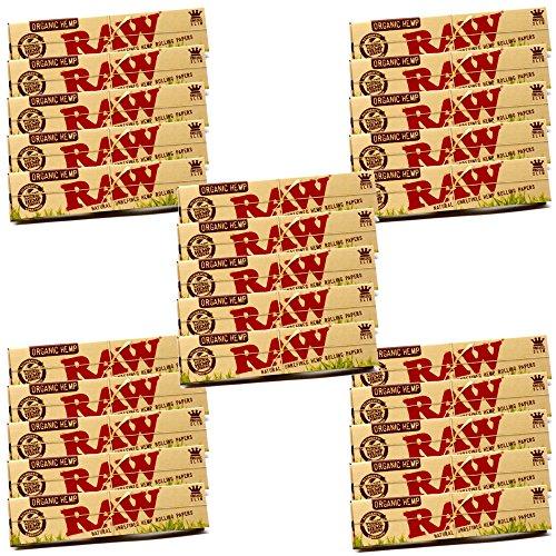 25 x Books Raw Organic Natural Hemp King Size Slim Rolling Paper Cigarette Skin