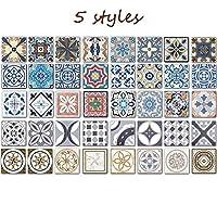 RAIN QUEEN Portuguese Style Multicoloured Decals(10x10cm, Pack of 48), Adhesive Art Tiles Stickers for Walls, Kitchen Backsplash, Floor Bathroom Decor