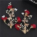 GTVERNH-Les Frises La Mariée Rouge Doux Somme Atmosphérique Suite Nuptiale Roi d'alcool Clips Perles Bijoux De Cheveux B
