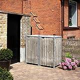 Hide Mülltonnenbox, Mülltonnenverkleidung, Gerätebox Natur grau // 121x63x115 cm (BxTxH) // Aufbewahrungsbox für 2 Mülltonnen 140l Volumen