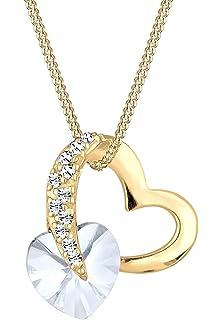 Collier Swarovski Femme Pendentif circle heart double coeur cristaux NEUF