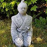 Steinfigur Samurai frostfest japanischer Krieger Deko Garten