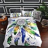BEDSETAAA Bettwäsche Artikel Vier Stück Anzug Polyester Baumwolle 3D Digitaldruck Bettbezug Blatt Kissenbezug Dreamnet Serie 240x210cm Grün