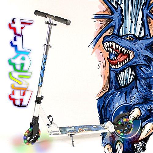 hepros-trottinette-tout-flash-fully-xxl-145-mm-leuchtrader-cityroller-silver-dragon-bleu