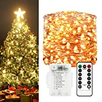 Sunfuny LED Fairy String Lights 66ft 200 Leds, Battery Operated Waterproof Copper Wire Starry Firefly Lights, Timer Dimmable 8 Modes Remote Control for Festival Decor, Warm White, New Year Gift