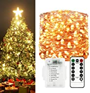 Sunfuny LED Fairy String Lights 66ft 200 Leds, Battery Operated Waterproof Copper Wire Starry Firefly Lights,