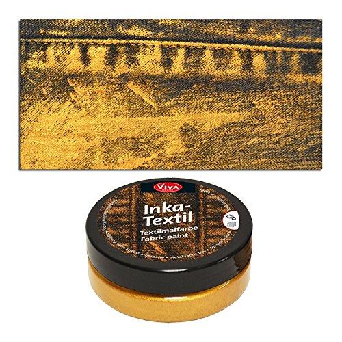 Preisvergleich Produktbild NEU Viva Decor Inka Textilfarbe, 50ml, Gold