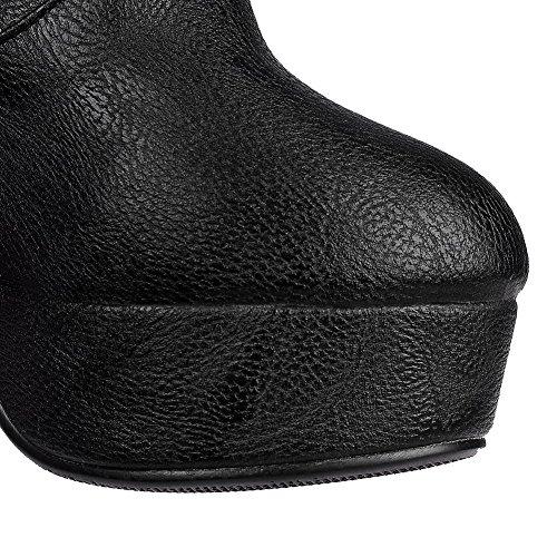 AgooLar Damen Knie Hohe Ziehen Auf Blend-Materialien Hoher Absatz Rund Zehe Stiefel Schwarz