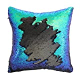 MAETEK Mermaid Pillow Case, Two-Color Changing with Free Drawing DIY Paillette Decorative Pillow Cushion, 16x16 for Home Sofa Decorative Reversible Sequins Sofa Throw Cushion,Peacock Blue and Black