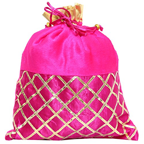 Bagaholics Ethnic Clutch Silk Potli Batwa Pouch Bag with Metal Beadwork (Pink)  available at amazon for Rs.165