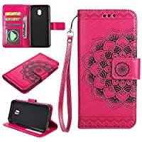 (European version)Galaxy J330 / J3 2017 / J3 Pro 2017 Wallet Case, EST-EU Retro Mandala Embossing PU Leather Stand Function Protective Covers with Card Slot Holder Wallet Book Case for Samsung Galaxy J330 / J3 2017 / J3 Pro 2017, Rosepink