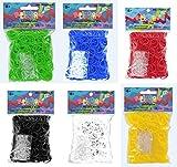 Original RAINBOW LOOM Gummibänder 3600 Bänder opaque in limetten- grün, ozeanblau, rot schwarz, weiß und gelb + 144 C-Clips