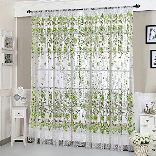 Wyxhkj tenda decorativa con peonia, trasparente, paia, con occhielli per finestra, per soggiorno, camera da letto, verde, 200cm x 100cm