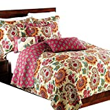 Alicemall Tagesdecke Bettwäsche 3 Teilig 100% Baumwolle Bunter Blumenstickerei Quilt Soft Decke Couch Überwurf 230 x 250 cm und 2 Kissenbezüge 50 x 70 cm - Europäische Idyll