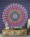 Guru-Shop Indisches Mandala Tuch, Wandtuch, Tagesdecke Mandala Druck - Blau/lila, Violett, Baumwolle, 230x210 cm, Bettüberwurf, Sofa Überwurf
