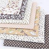 MeineBeauty 7 Stück Patchwork Stoffe DIY Gewebe Set Rosa Blumen Muster Gemischte Baumwolletuch Stoffpaket zum Nähen Tischdecke mit vielfältigem Muster(50cmx50cm)