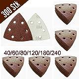 300unidades triángulos de lija con velcro 93x 93x 93mm, grano 50x 40/60/80/120/180/240para lijadora delta de 6agujeros
