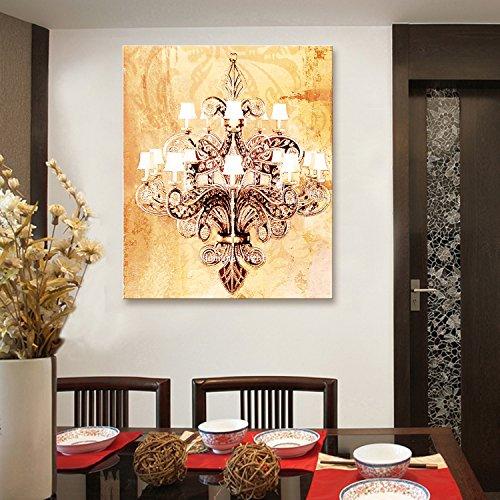 X&L Solido legno LED fibra pittura decorazione murale dipinto senza cornice pittura camera da letto soggiorno ristorante camera da letto tela impermeabile (europei lampadari) ,