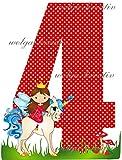 wolga-kreativ Applikation Geburtstag Zahl 4 Geburstagsshirt Mädchen Einhorn Prinzessin Bügelbild zum selbst Aufbügeln A5
