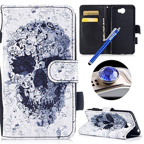 Coque en Cuir pour Huawei Y5 2,Etsue Etui Housse Cuir Folio Portefeuille pour Huawei Y5 2,magnétique cuir PU Wallet Support Feature Flip Protecteur Protection Portefeuille Cas Pochette pour Huawei Y5  Crâne