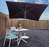 Parasol Sombrilla Jardin / Terraza / Patio | Negro | 300 x 200 cm (3 x 2 m) | Rectangular | SORARA - PORTO | Poliéster de 180 g/m² (UV 50+) | Mecanismo De Péndulo Y Manivela (excl. Base)