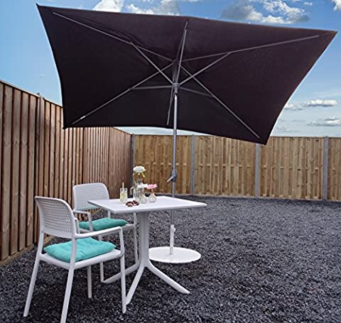 Parasol Jardin | Noir | 300 x 200 cm (3 x 2 m) | Carré | SORARA - PORTO | Polyester 180 g/m² (UV 50+)| Commande à Manivelle (Pied
