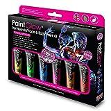 PAINTGLOW, fluorescente vernice viso & CORPO ( FDA & EU) Cofanetto, confezione da 6