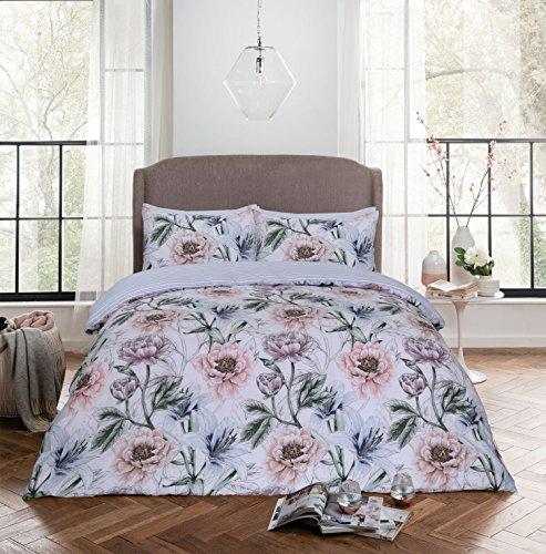 Pieridae Trailing Lily Floral Bedruckte Bettdecke Bettbezug vollständig Stripe Wende Bettwäsche-Set mit Passenden Kissenbezügen, Polycotton, Doppelbett (Lily-bettwäsche-set)