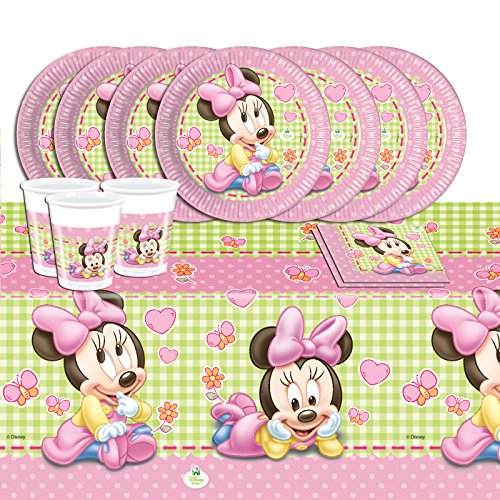 Procos Disney Baby Minnie Mouse 53 Teile Party Deko Set (Baby Minnie Maus Geburtstag Party)