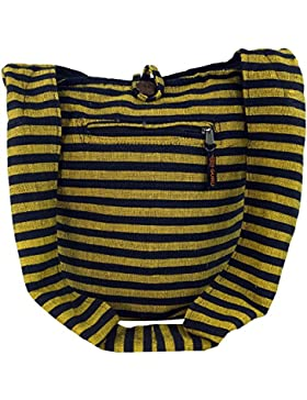 Guru-Shop Sadhu Bag Gestreift, Goa Tasche, Schulterbeutel - Braun, Herren/Damen, Baumwolle, 40x35x25 cm, Bunter...