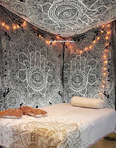 Nuevo y exclusivo mano de Fátima de tapiz para Goodluck por raajsee, gris indio Mandala Arte de la pared blanco y negro Glorafilia, Hippie colgar en la pared, bohemio Colcha Tamaño 210* 230cms