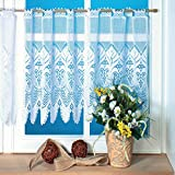 1er Pack hochwertiger Jacquard-Fadenstore Scheibengardine bestickt Gardine Vorhang, #3, B/H 160x60cm