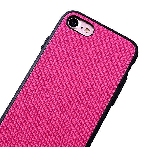 WE LOVE CASE iPhone 7 4,7 Hülle Weich Silikon iPhone 7 4,7 Schutzhülle Handyhülle Im Retro Style Einfache Farbe Furnier Schwarz Muster Handytasche Cover Case Etui Soft TPU Handy Tasche Schale Schlank  Rose Rote