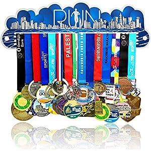 Porta Medaglie Running | Medagliere da Parete Blu per Uomo e Donna | 25 Medaglie 1 spesavip