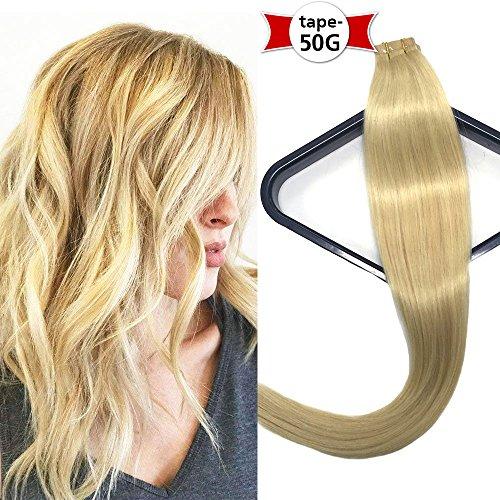 Cinta en extensiones de cabello # 613 Bleach Rubio cabello humano 20 pulgadas 50 g/paquete 20 piezas Piel perfecta tejido Remy seda Pegamento en extensiones de cabello (20'/50cm-50g, 613)