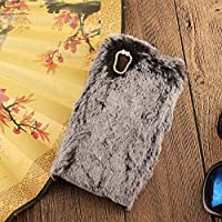 Girlish Hülle Sony Xperia Z6, KeKeYM Sony XA1 Plüsch Hülle Handgemachte Schutzhülle Stilvolle Mode Cute 3D Diamant Strass Bling Kristall Leuchtende Kristall Strass Schleife Handyhülle Transparente TPU Silikon Weiches Plüsch Warm Flauschige Kaninchenfell Handy Anti-Kratz Shell Fell flauschig weichen Fall Thin Shell für Sony Xperia XA1 - Schwarz