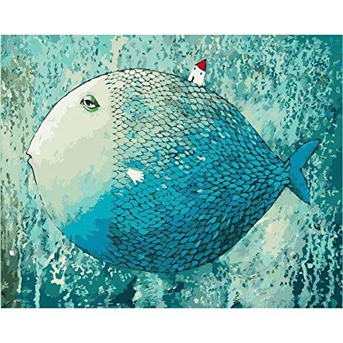 Zdmathe 16x20 Zoll DIY Digital Malen Nach Zahlen Kits für Kinder Erwachsene Magisch Fisch Zeichnung Kits Wandgemälde Leinwand Ölgemälde Home Mauer Dekor