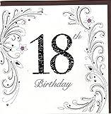 Edle Glückwunschkarte zum 18. Geburtstag von Koko Designs mit Prägung, Folie und Kristallen KK010