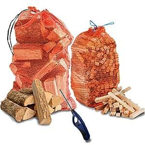 The Chemical Hut® Pizza Fire Holz Kärtchen, jeweils 15kg künstlich getrocknet Esche Holzscheite + 3kg Anfeuerholz + Clipper Wave Long Reach Feuerzeug–geht mit The Log Hut® Woven Sack.