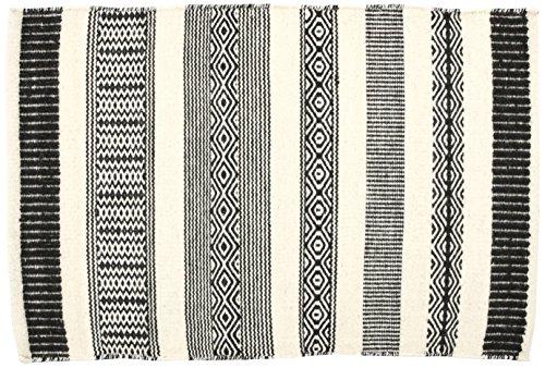 Creative carpets Alfombra Étnico, Lana, Blanco y Negro, 60 x 90