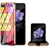 JAMIE Case for Samsung Galaxy Z Flip, Ultra-Thin Hybrid Plating PC Hard Cover 9H Tempered Glass Back Shell Shockproof Protect