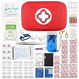 Kompakt Erste Hilfe Set mit 105 Teilen Harte Tasche- Mini First Aid Kit - Wasserdichte Medizinische Notfalltasche für Reisen, Auto, Zuhause, Büro, Camping, Arbeitsplatz, Wandern, Jagd und Abenteuer