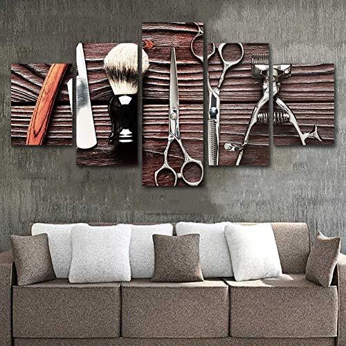 KEOA Moderno Arte de la Pared Fotos decoración para el hogar Cartel de barbero 5 Paneles peluquería peluquería Posters HD Marco de Pintura Impresa,A,30×40x2+30×60x2+30x80×1