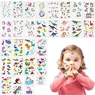 ANPHSIN 30PCS Kinder Tattoos, Einhorn Tattoos Set, Dinosaurier Tattoos Set, Kinder Aufkleber Sticker für Mädchen, Junge Zum Geburtstags Party, Einhorn Party Lieferungen Party