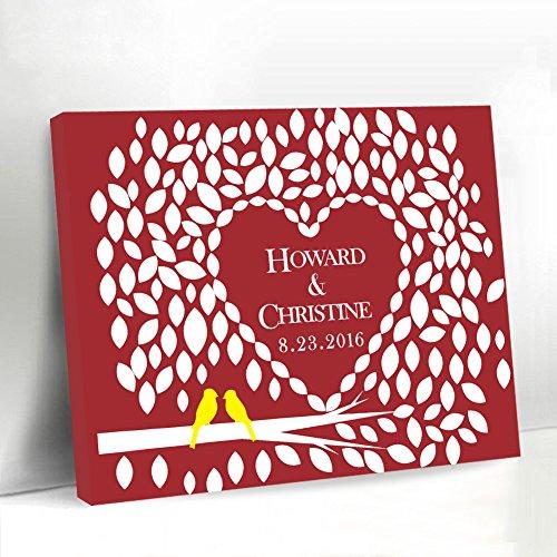 Grau Hochzeit Gästebuch Alternative Herzen Design Hochzeit Welcome Schild, mit Love Birds Leinwand Gästebuch Hochzeit für den Zubehör Geburtstag Geschenk Andenken