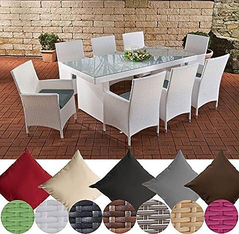 CLP Polyrattan Essgruppe AVIGNON BIG (Tisch 200 x 90 cm + 8 x Polyrattan Stuhl Julia + Sitzauflagen), bis zu 7 Rattan-Farben und 5 Bezugsfarben wählbar Rattanfarbe: Weiß, Bezugfarbe: Eisengrau